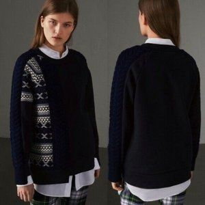 Burberry Cable Knit Cashmere Fair Isle Pullover S